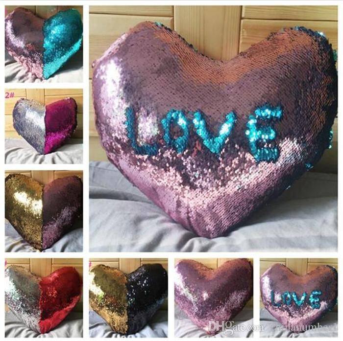 Heart Shaped Sequin Mermaid Pillow Case Cover Reversible Sofa