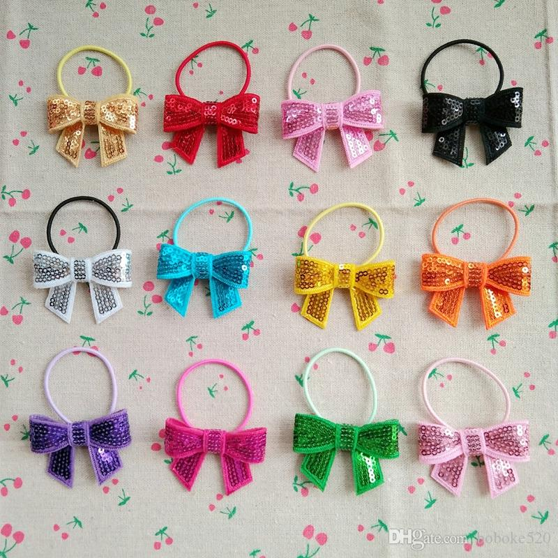 70dfe50d9a88 2.0 Shiny Glitter Boutique Hair Bows With Ponytail Holders Hair Accessories  Hair Ties For Baby Girls Teens Little Girl Hair Accessories Hair Accessories  For ...