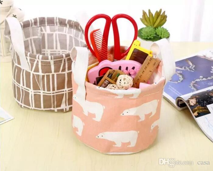 6 Styles Round Flamingo Cotton Linen Desktop Storage Box Sundries Storage Organizer Stationery Cosmetic Storage Basket