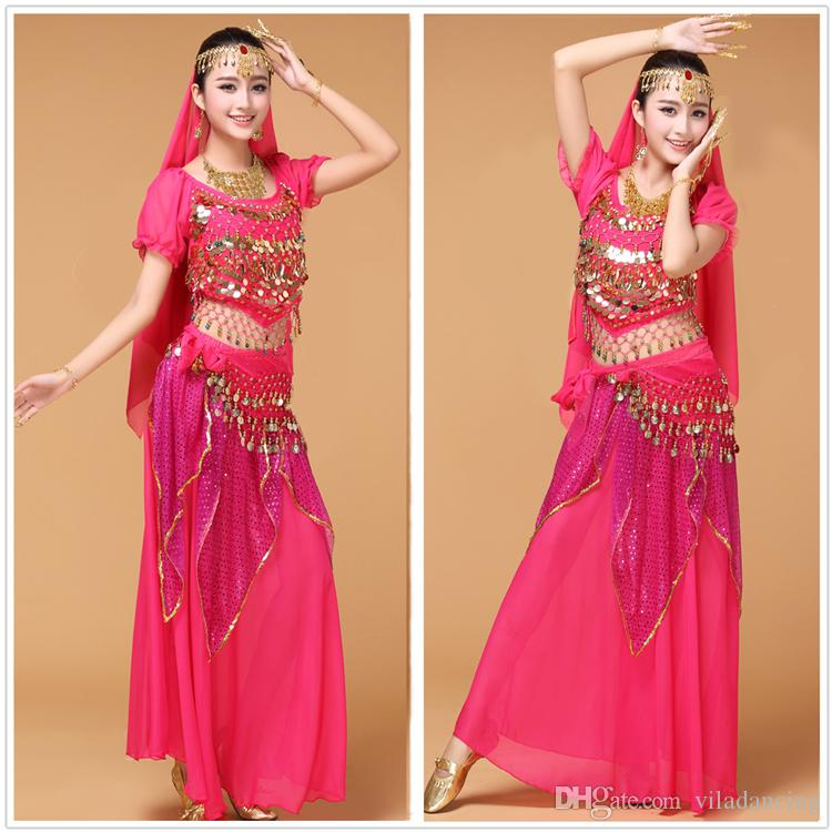 Tribal Belly Dance Costume set Indian Dance Shiny Bells dancing costume for show
