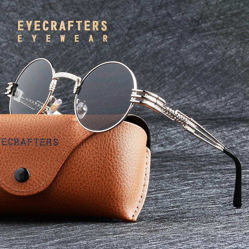 3fe87a22af Compre MARCA DISEÑO Moda Gafas De Sol Redondas De Metal Para Hombre Gótico Steampunk  Gafas De Sol De Revestimiento Espejo Para Mujer Retro Vintage Eyewear A ...