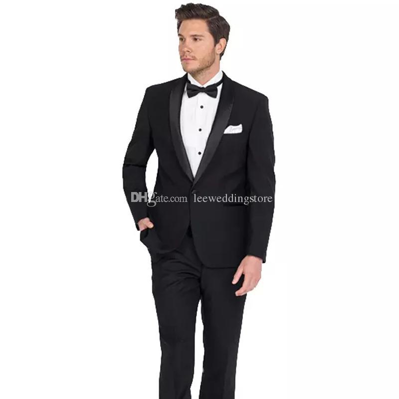 Acheter 2018 Hommes Costumes Noir Châle Revers De Mariage Costumes Pour L  homme Marié Slim Fit Formal Personnalisé Fait Smokings Meilleur Homme Robe  De ... bb51bdf0b1b