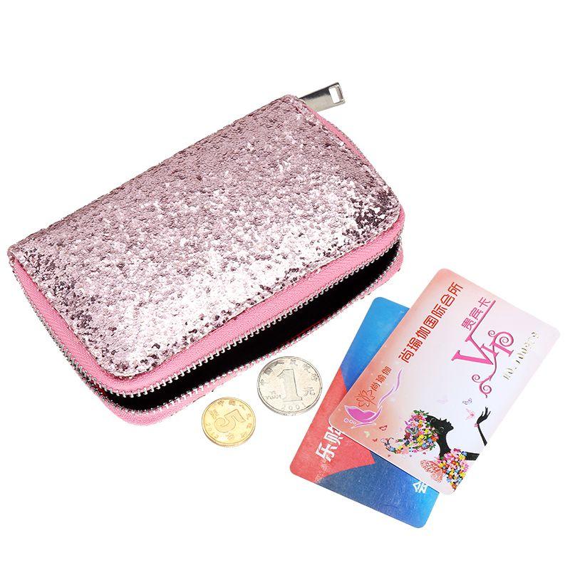 2017 Fashion Women Wallets Bling Powder Shiny Short Lady Purse Adorable Card Holder Cute Purse Brand Glitter Flip Wallet 500648