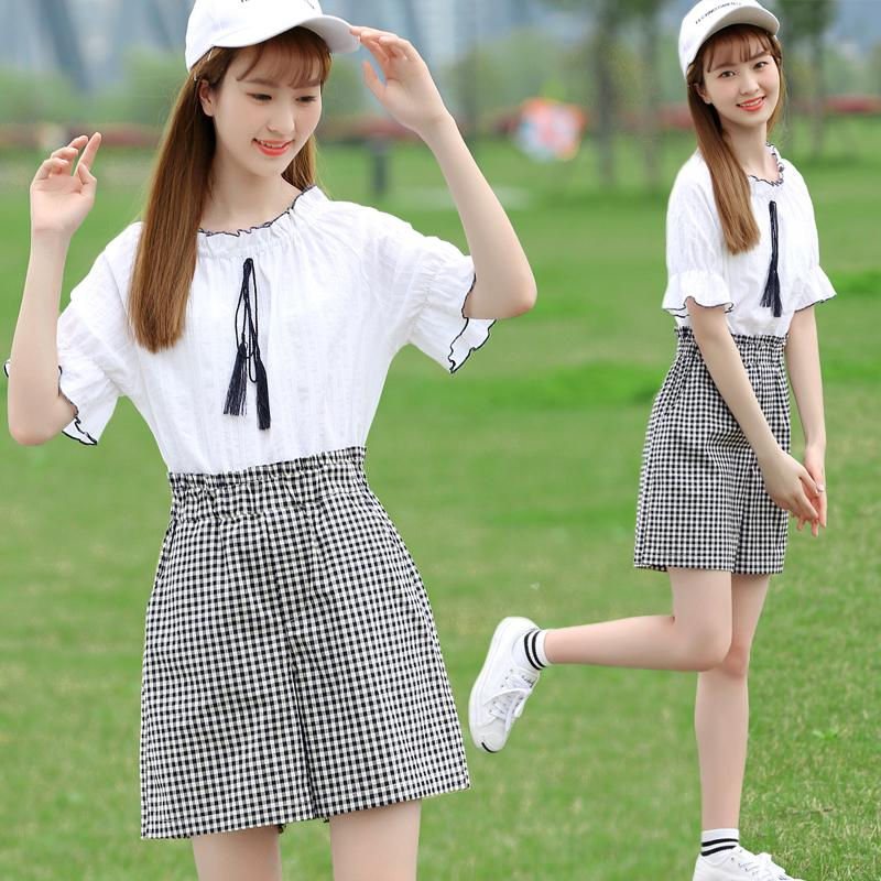 865e3c78548 High and middle school girls  summer wear relaxed academic style 16 - year  - old middle school students  girls  fashion two pieces sets