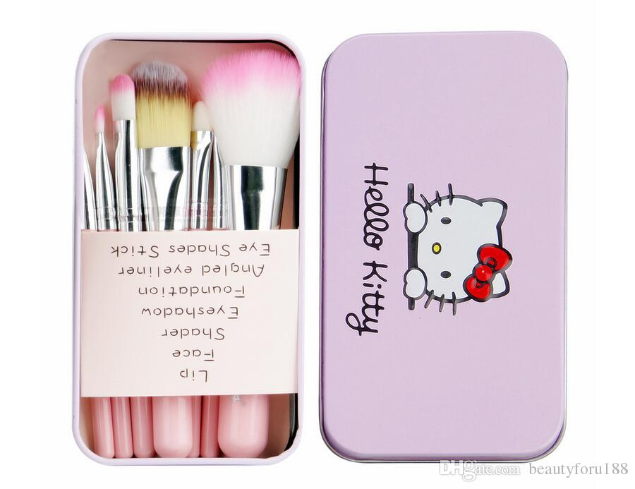 762310dde Hello Kitty Makeup Brushes Kit With Pink Iron Case Toiletry Beauty  Appliances Powder Eyeshadow Makeup Brush Cute Box Gift DHL Professional  Makeup Kits ...