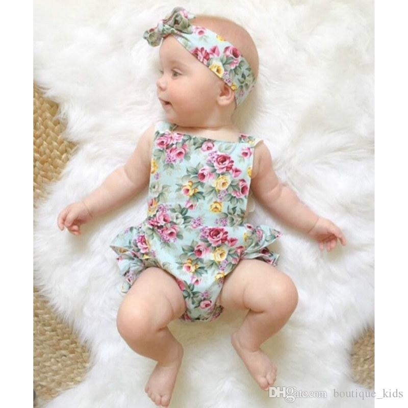 Lindo bebé floral mameluco 2018 volantes Mono de encaje con la venda recién nacido Niñas ropa traje de chándal Niños Ropa de niños 0-24 M