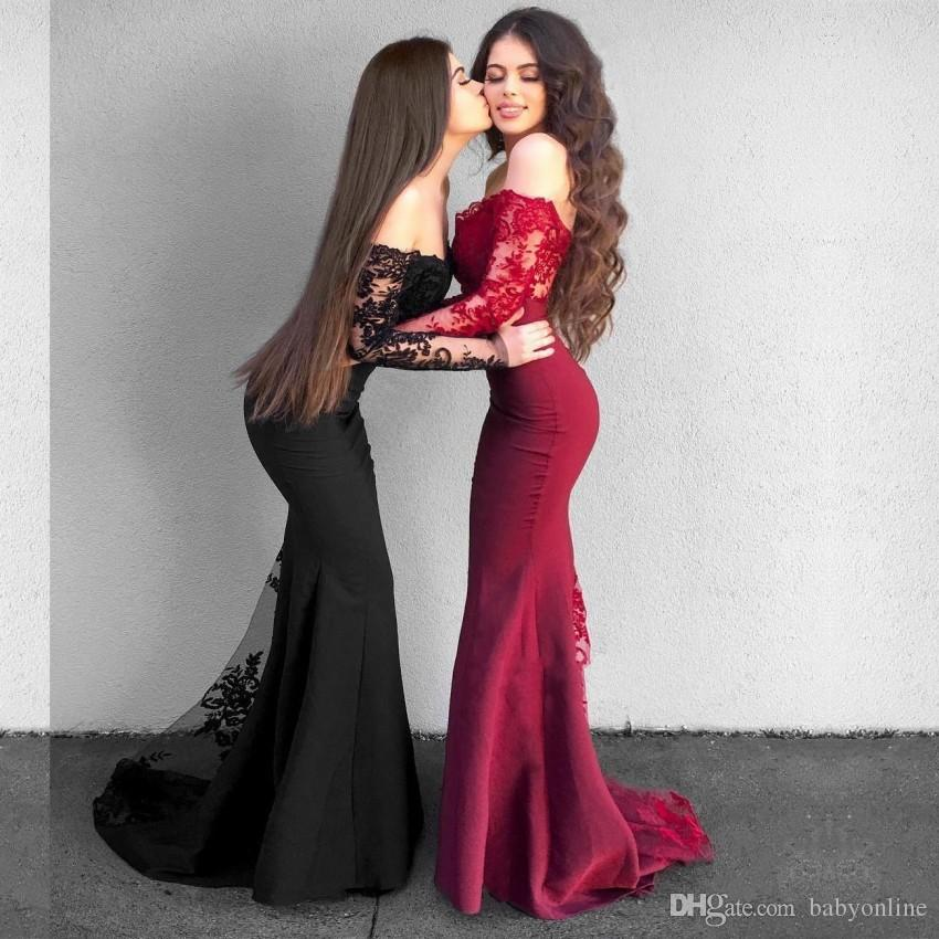 eb1db34e0f20 Delicate Lace Mermaid Long Sleeves Bridesmaid Dresses Vintage Off Shoulder Long  Prom Evening Dress Arabic Formal Wedding Guest Dress Bridesmaids Dress ...