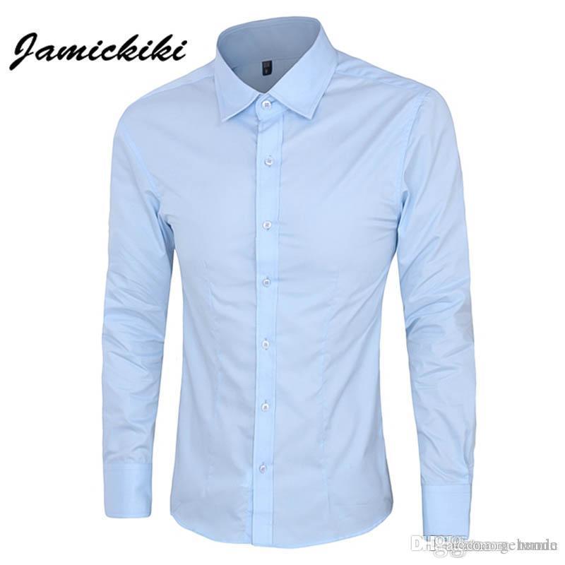 Homme Vestir Ropa Para Camisas Hombre De Hombres Chemise Marca Fit De  Compre Slim Camisa Larga ... 3ddf274a6d5