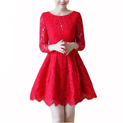 a699632a9f9a Spring Autumn Lace Dress New Korean Fashion Mini Vestidos Women Long Sleeve  Red Lace Dresses Cocktail Dresses Teens Dress Of Women From  Beautiful201314