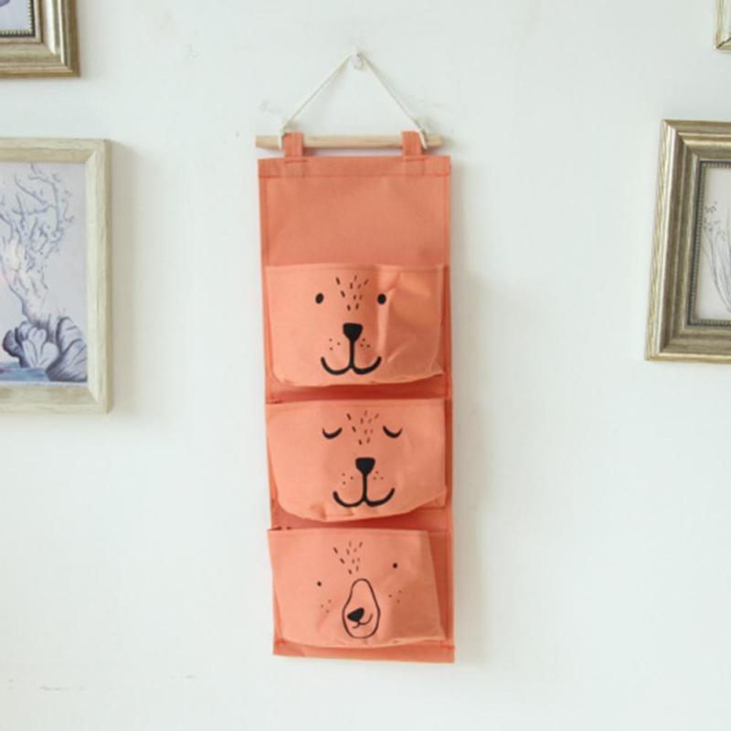 Wall Hanging Storage Bag 3 Pocket Fabric Linen Wall Mounted Wardrobe Closet Hang Bag Wall Pouch Sundries Cosmetics Toy Organizer