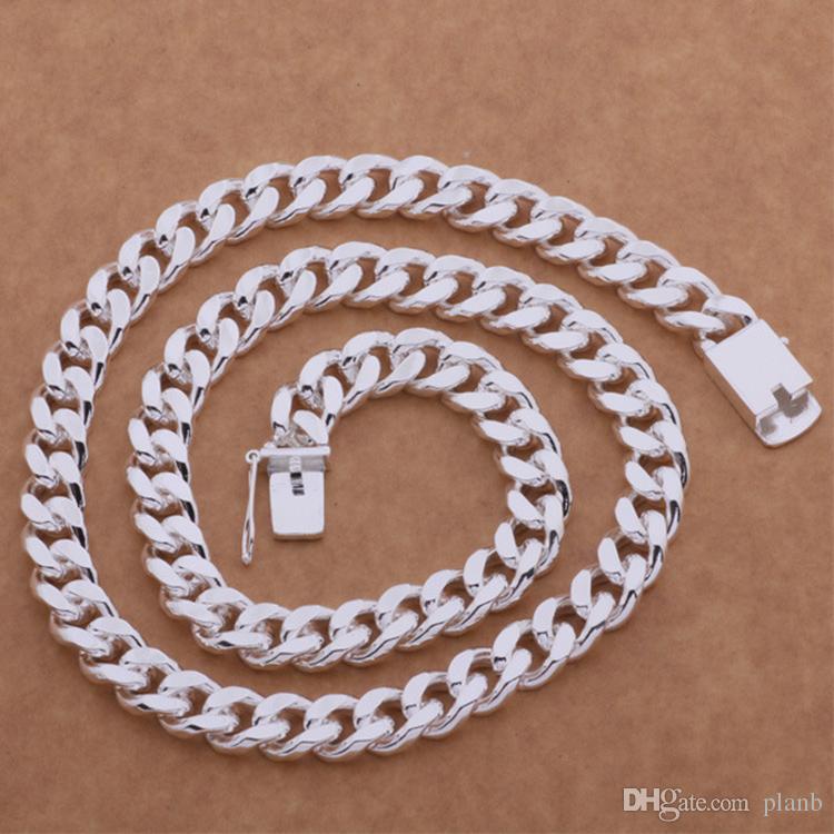 Nie verblassen Mode Luxus Figaro Kette Halskette Männer Schmuck 925 Sterling Silber Überzogene 10mm Rhodium Kette Halsketten für Herren