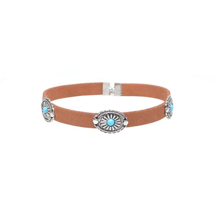 Joyería de moda retro de Bohemia Corea collar de gargantilla de terciopelo forma de flor de metal turquesa conjunto collar estilo simple