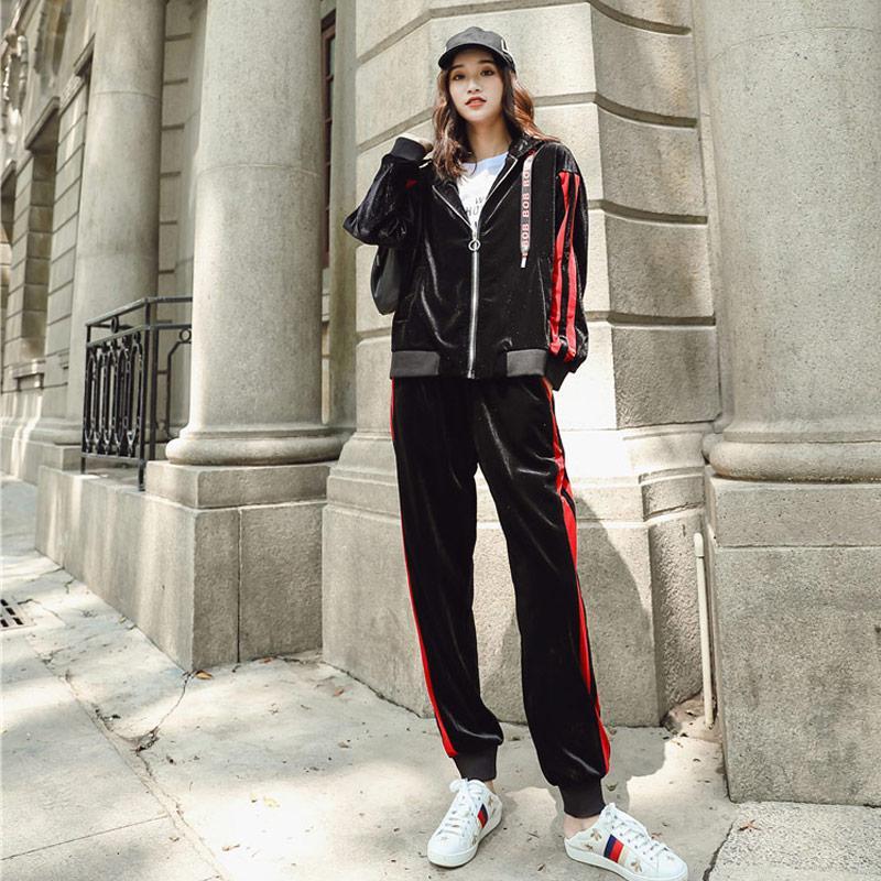2019 Trend Setter 2018 Autumn Fashion Velvet Set Women Black Casual