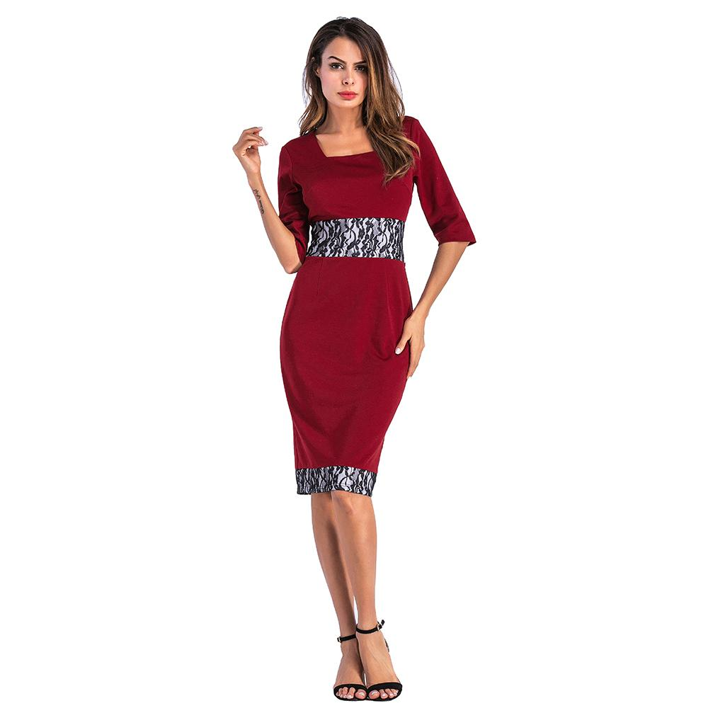 c07743962ca Elegant Women Casual Dress Square Collar 3 4 Sleeve Sexy Dress Lace  Stitching Work Business Office Party Bodycon A2121 Dresses Cheap Dresses  Elegant Women ...