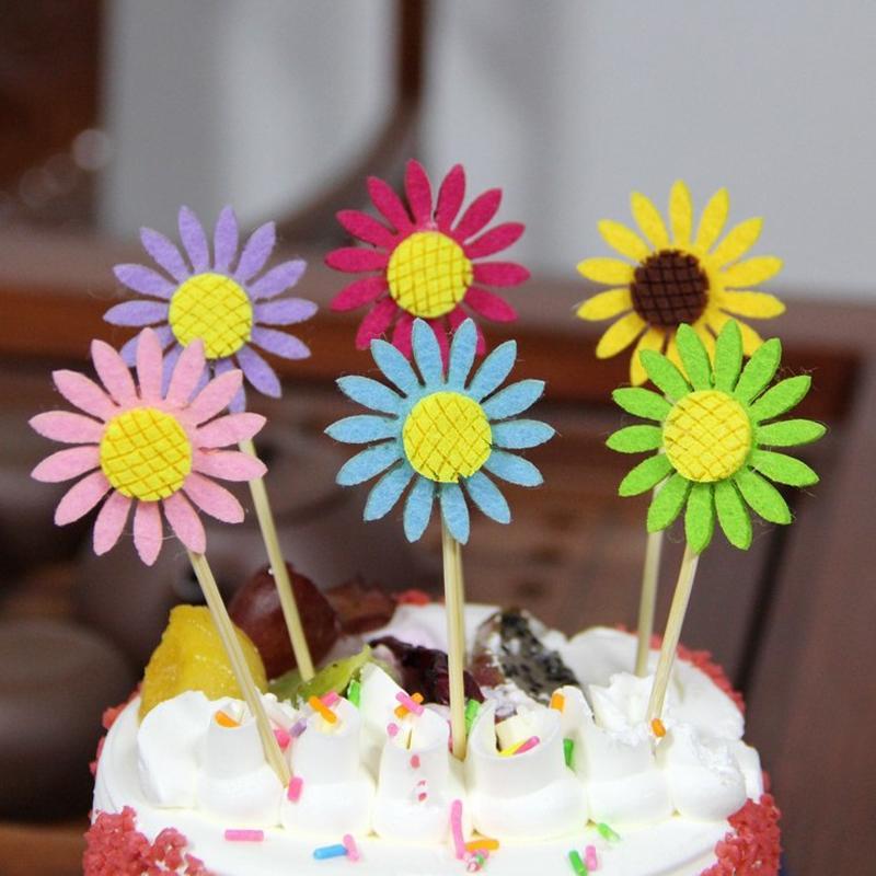 Acheter Mignon Fleur Gateau Toppers Tournesol Party Cupcake