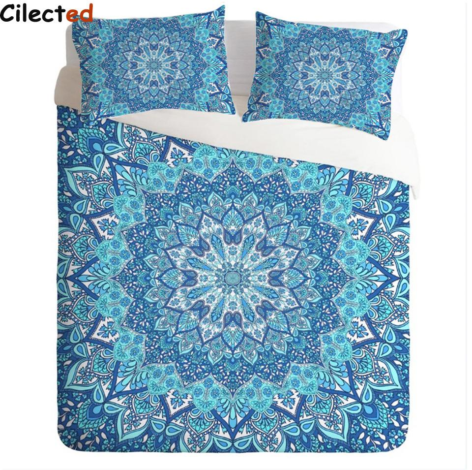 gro handel cilected 3 st ck bohemian floral paisley muster bettbezug set blau indie mandala. Black Bedroom Furniture Sets. Home Design Ideas