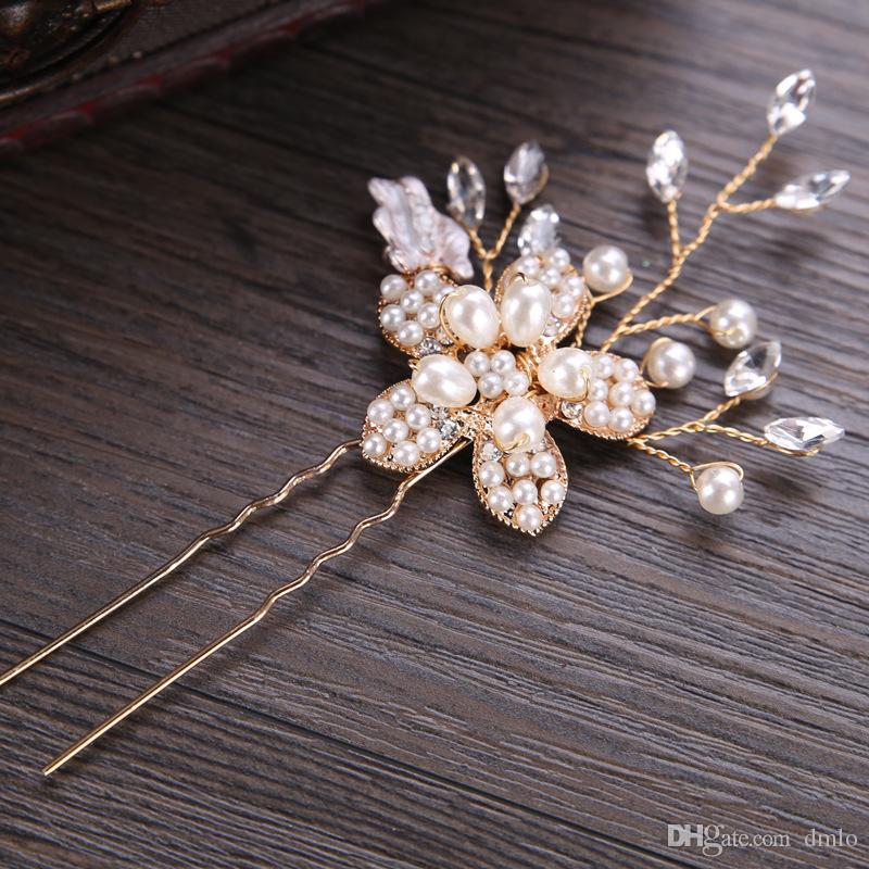 Headdress Flower Bridal Wedding Hair Pins Clips for Bride Pearl Crystal Hairpins Bridal Hair Bands Bridal Headpiece Hair Jewelry Accessories