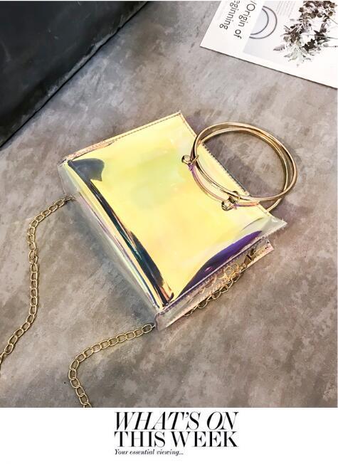 Women Fashion Handbag Laser PVC Holographic Hologram Clutch Purse Cute Girl Makeup Bag Party Handbag bucket bag 2018 New