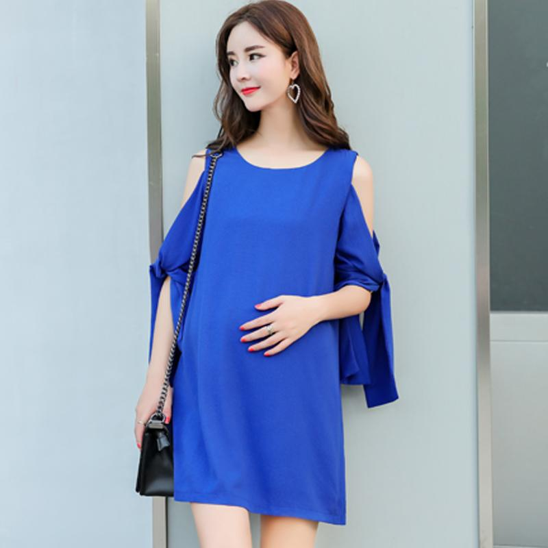 e79bed065cc 2019 Sexy Shoulder Off Bow Loose Pregnancy Blouse Summer Korean Fashion  Maternity Shirt Stylish Clothes For Pregnant Women From Mingway245