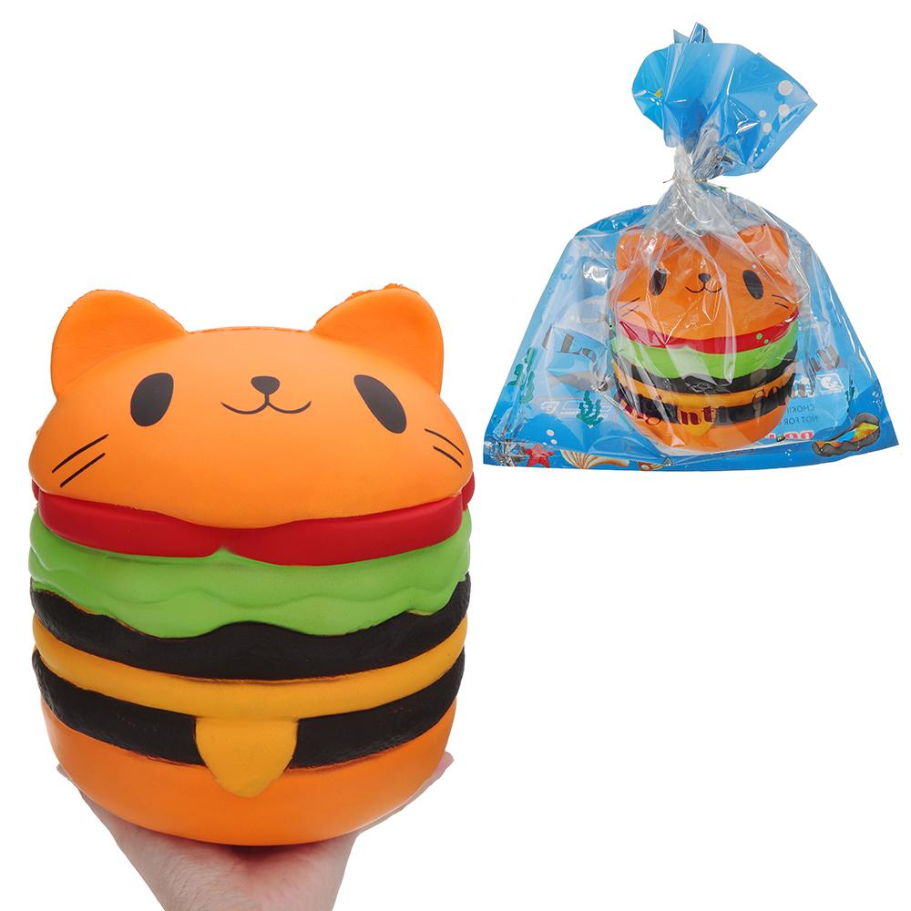 Kawaii Big Cat Burger for Squishy Jumbo toy Soft 20cm Squishies Slow Rising Squeeze Toy for Kids adult Anti stress Collecte Gift