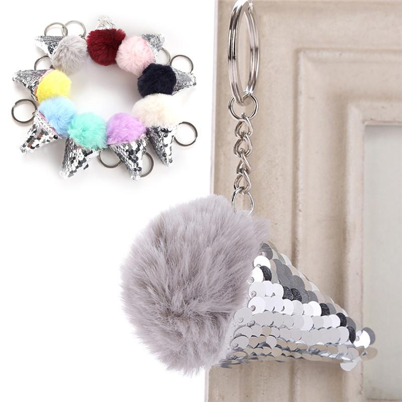 Sequins Fur Ball Cream Cone Keychain Pompon Backpack Women Shoulder Bags  Pendant Furry Acrylic Key Chain Ring Keyring Monkey Fist Keychain  Personalized ... 865a34005f