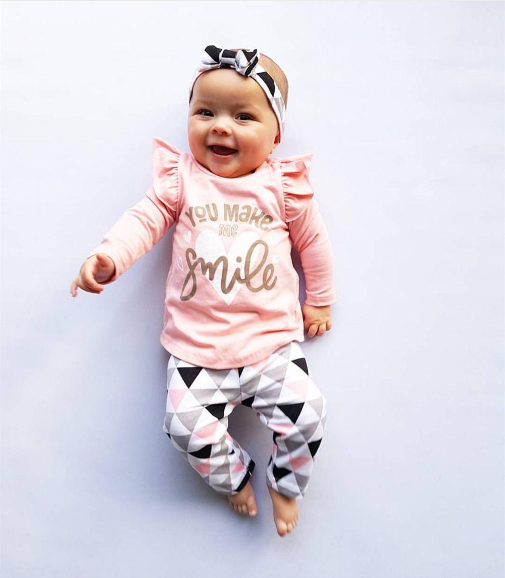 157240371 2019 Newborn Baby Girl Clothes Pink Sleeve Ruffle Tops+Geometric ...