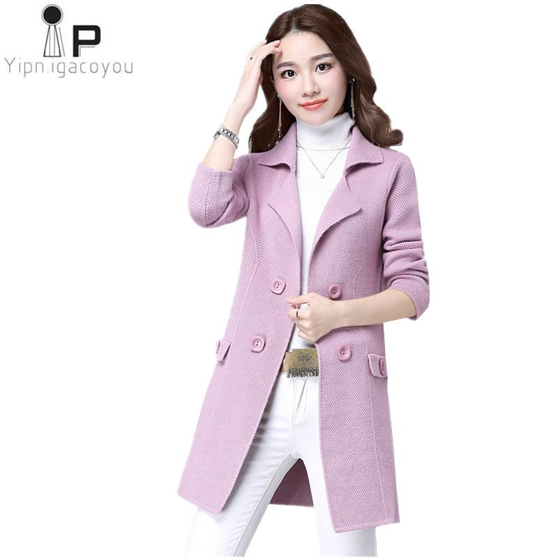 ace1991f05 Compre Moda Coreana Longo Cardigan Mulheres Camisola Harajuku Jaqueta  Outono Plus Size Camisola De Malha Mulheres Casaco Elegante Casaco Feminino  De ...