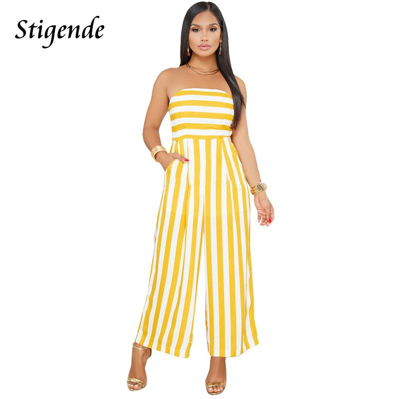 a23020f7facf 2019 Stigende PLUS SIZE Summer Clothes Women Stripe Jumpsuit Romper Off  Shoulder Casual Wide Leg One Piece Pants Strapless Jumpsuit From Balsamor