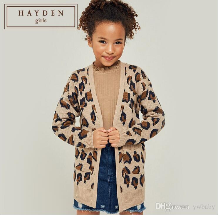 Children Outwear Autumn Big Girl Knit Leopard Cardigan 2019 Teenager