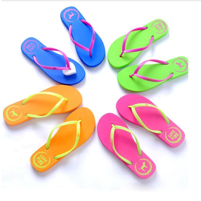 Pink Flip-Flops Love Pink Letter Slippers Summer Beach Sandals Rubber Antiskid Slipper Casual Slippers Fashion Sandalias Footwear Shoes