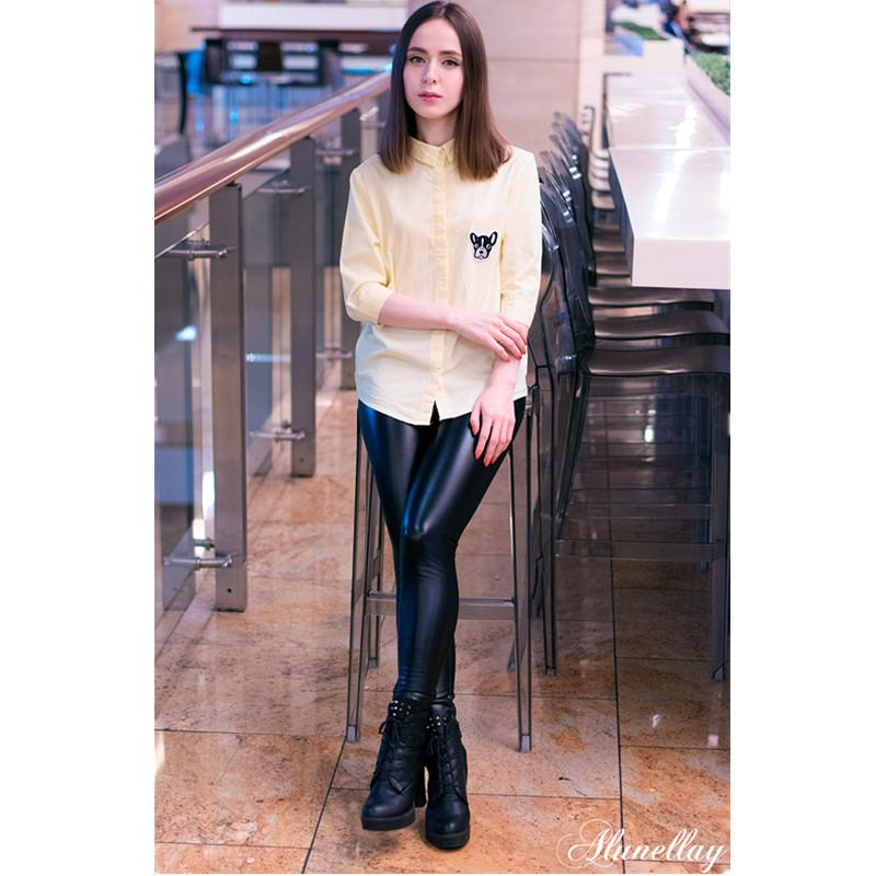 f430b27e48ce3f 2019 2017 PU Leather Pants Women Winter Trouser Female High Waist Elastic  Skinny Warm Fleece Slim Legging Plus Size Women Pencil Pant From Genguo, ...