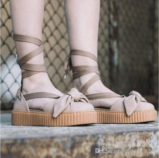 buy popular 5d5b0 16d78 New Rihanna X Fenty Women's Sandals Size 36-40 Summer Bow Slippers Pink  Brown Beige Sneakers Free Shipping