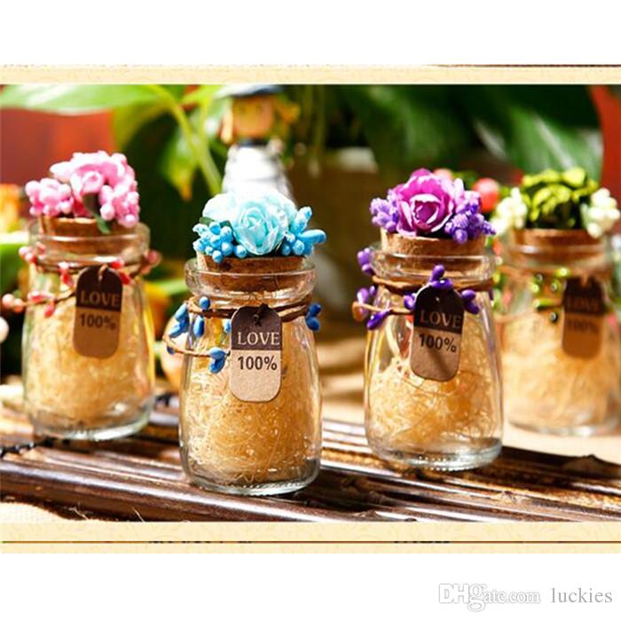 92f83b0708c4 Small Mini Glass Bottles Jars with Cork Stoppers Wedding candy bottle  Message Wish Jewelry Party Favors Candy Box Bottle 099