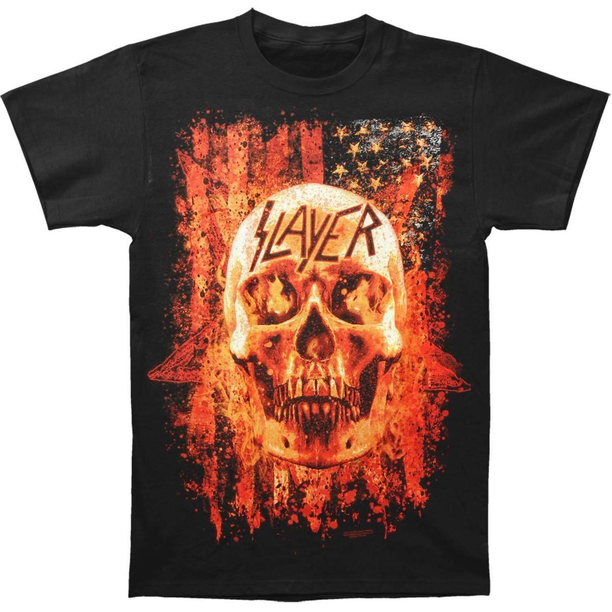 d038c210d94d Slayer Men'S Flag Skull Flames T Shirt Black Design T Shirts Casual Cool O  Neck Sunlight Men T Shirt Top Tee Short Sleeve Shirt Novelty T Shirts From  ...