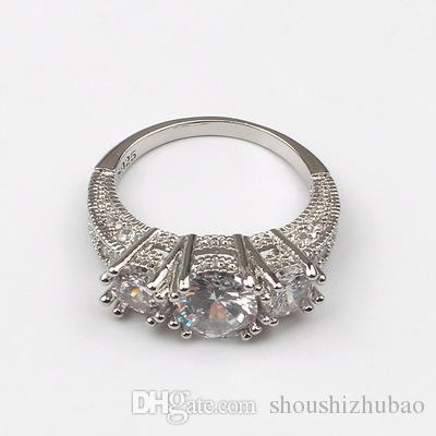 Classic Women`s Jewelry Engagement Gift White Sapphire Fashion 925 Silver Wedding Ring