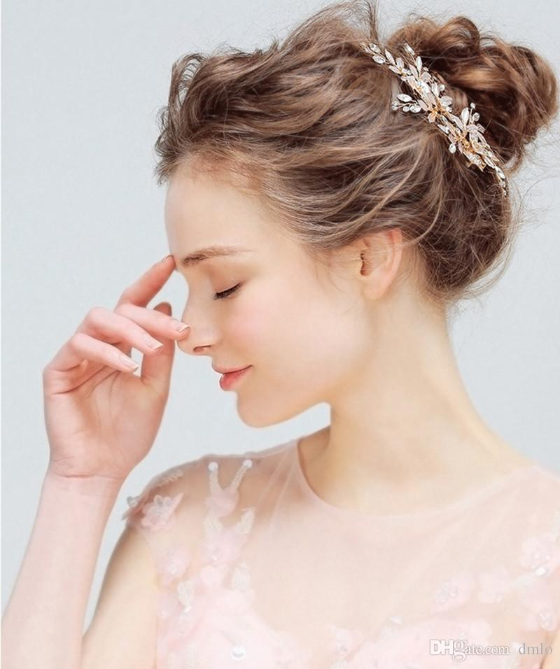Élégant coiffure fleur mariée mariage bandeau pour mariée cristal femmes Handmake or bridal headpiece mode cheveux bijoux accessoires