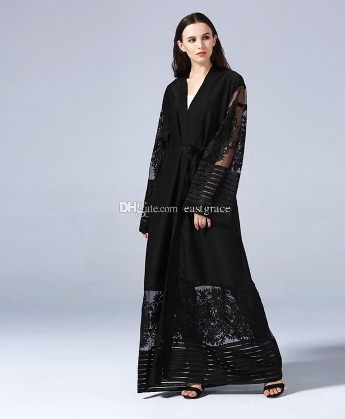 Acquista Top Quality Women Elegante Cardigan Musulmano Abaya Arabo Turco  Cardigan In Pizzo Ricamato Con Corpino Dubai Musulmano Donna Abiti Maxi A   29.15 ... 14522b4054d