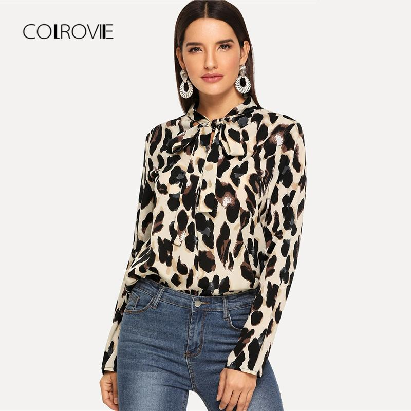 d6dea2a47e73ad 2019 COLROVIE Leopard Print Tied Neck Elegant Blouse Women 2018 Autumn Long  Sleeve Vintage Shirts Office Ladies Tops And Blouses From Jujubery