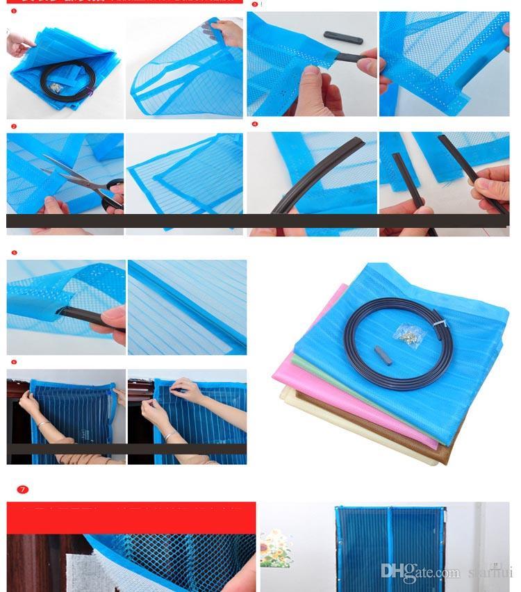 6 가지 색상 자기 문 모기장 커튼 메쉬 화면 Windows 곤충 비행 버그 거즈 모기 90 * 210cm 및 100 * 210cm WX9-283