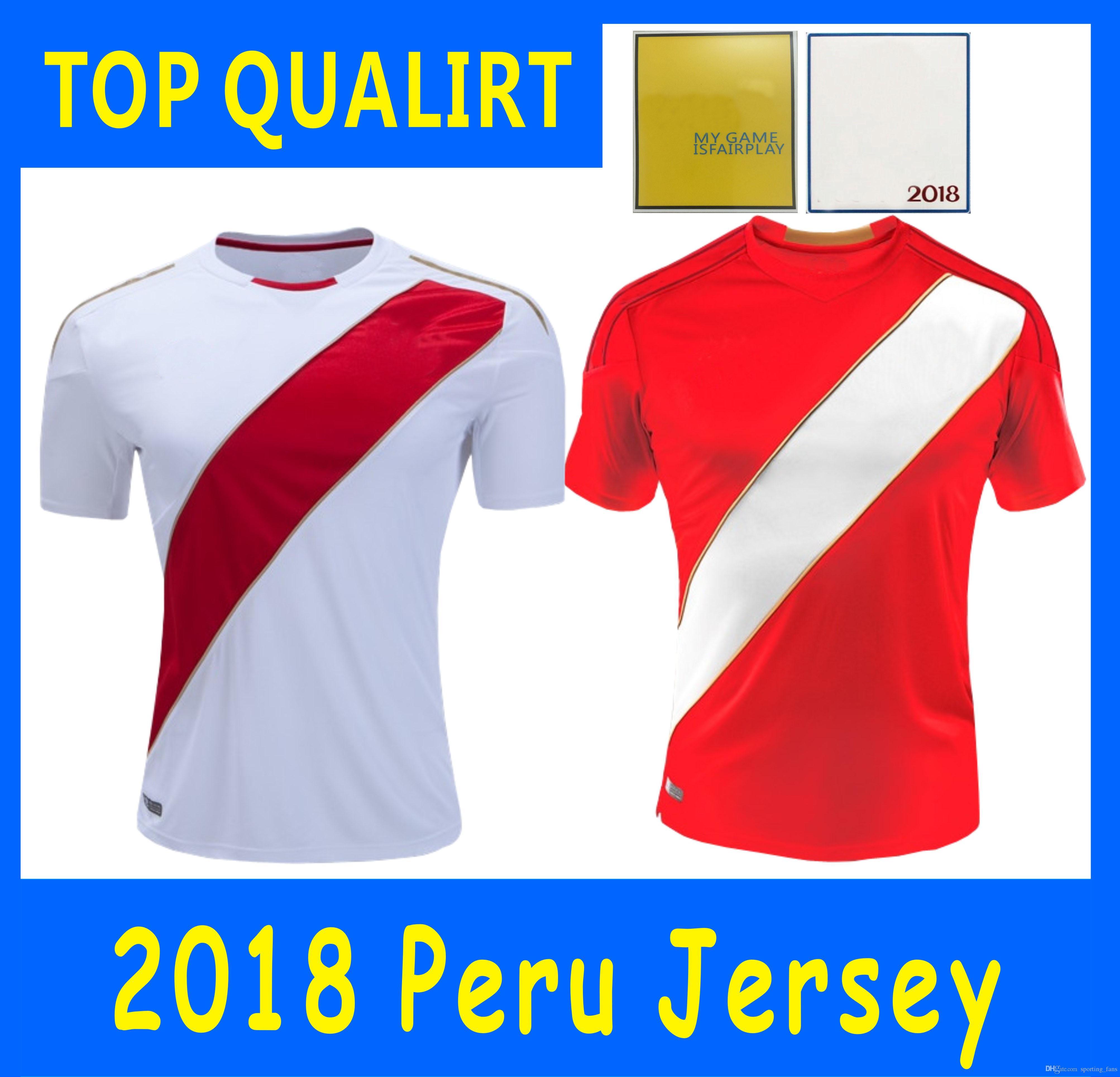 Top Tailandia Calidad 2018 Copa Del Mundo Perú Jerseys De Fútbol En Casa Y  Lejos 2018 Guerere Farfan Camiseta De Fútbol Fútbol Por Sporting fans 5e0fcf896596c