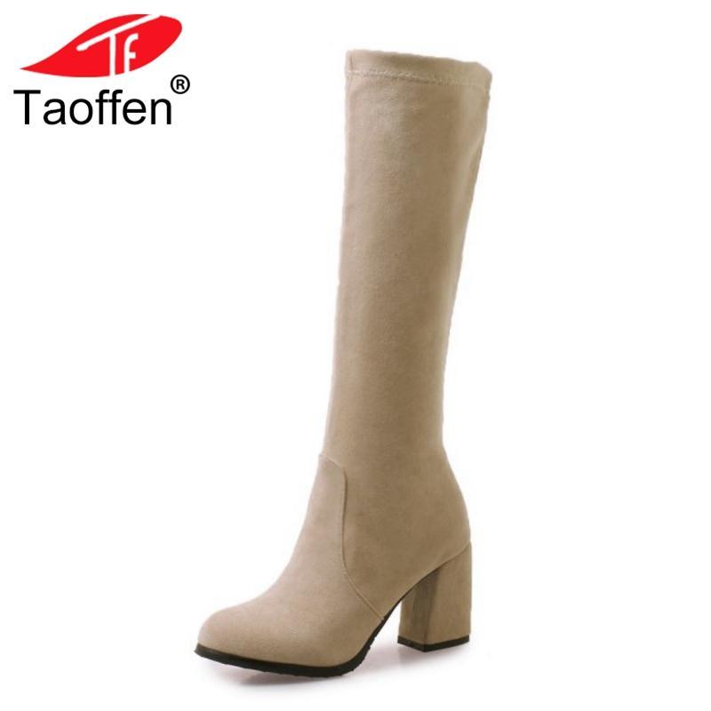 5e02fa54 Compre TAOFFEN Tamaño 32 46 Mujeres Rodilla Botas Altas Tacones Altos Zapatos  De Invierno Mujer Tacón Grueso Botas Largas Punta Redonda Damas Maduras ...