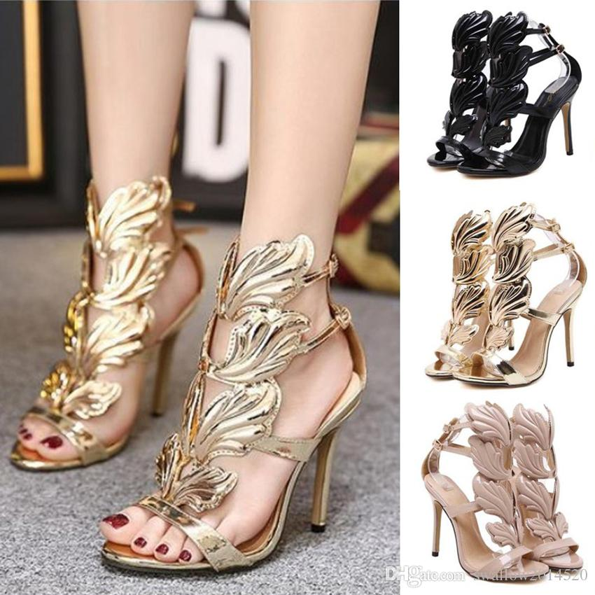 b0afb69165d Golden Metal Leaf Wing High Heel Sandals Flame Strappy Dress Shoes Gold  Nude Black Party Events Shoes Size 35 to 40