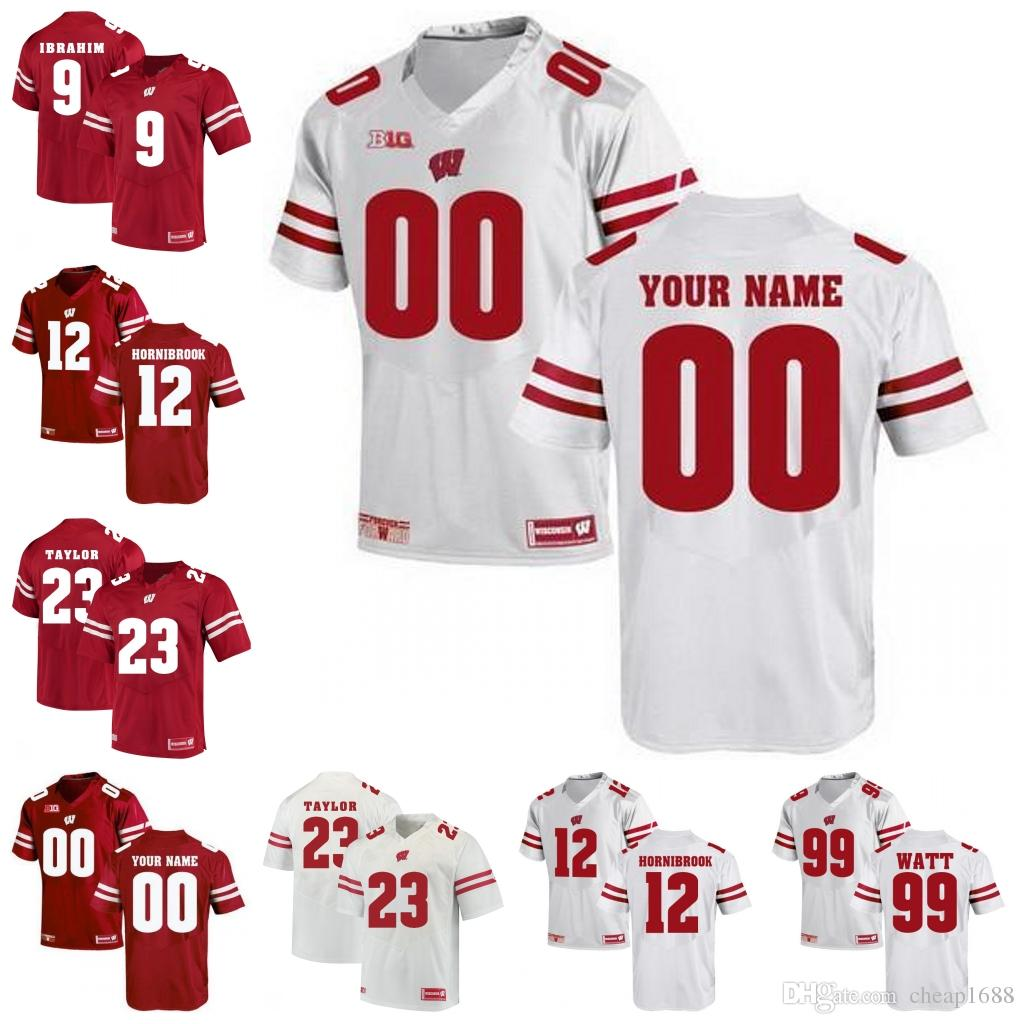 cbf75d55a 2019 NCAA Wisconsin Badgers  6 Corey Clement 20 James White 28 Montee Ball  42 T.J. Watt White Red Stitched College Football Jersey From Cheap1688