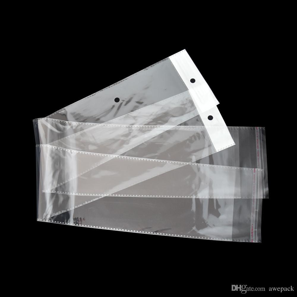 Sacchetto di plastica trasparente del pacchetto di estensione dei capelli del hairpiece di 12.5 * 62cm del sacchetto di plastica trasparente chiaro OPP poli sacchetti dell'imballaggio della drogheria