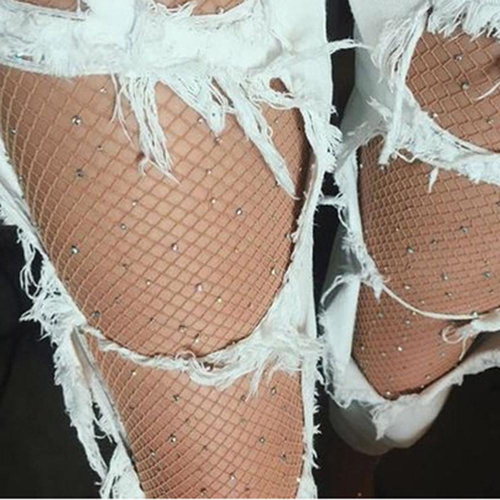 1ad5d9958fb1f 2019 2017 New Shine Crystal Fishnet Tights Pantyhose Stockings For Women  Stretch Diamonds Fish Net Tights Party Club Hosiery Lingerie From Maoyili,  ...