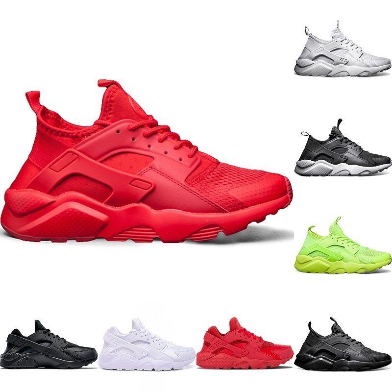 02e48ff78874 Designer Huarache 4 Trainers Sneaker Mens Running Shoes Triple S White  Black Red 2018 Cheap Huaraches Men Women Sport Sneakers Size 5.5 11 Running  Shoes ...