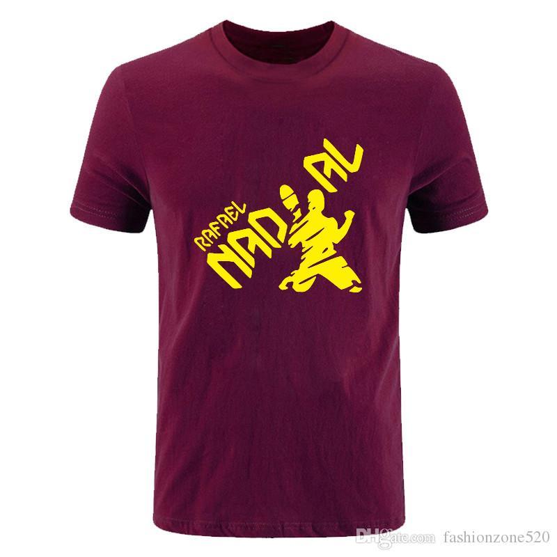Nova novidade Verão moda Algodão Casual Manga Curta Grandes Estaleiros T Shirt Homens Rafael Nadal Natto impresso T-shirt gola T Tops T-shirt DIY-0789D