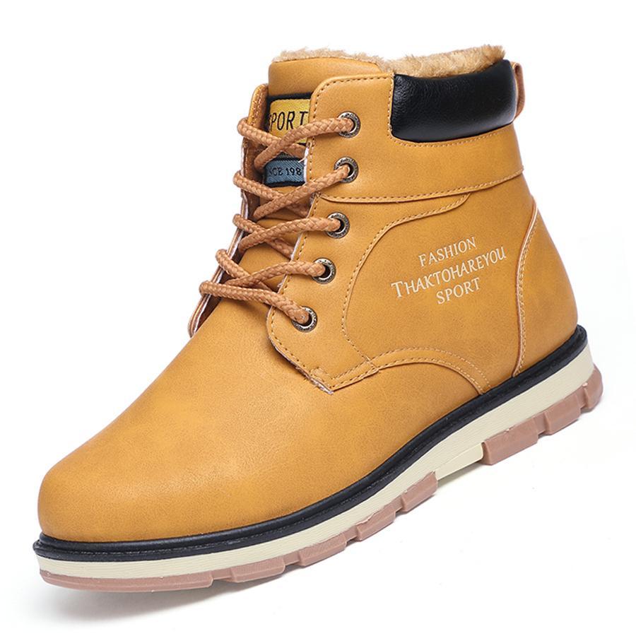0847c960d218 Großhandel URBANFIND Männer Winter Warme Stiefel Mit Plüsch Futter Große  Größe 39 46 Beliebte Stil Mann Lace Up Ankle Schuhe Schneestiefel Von  Bestname, ...