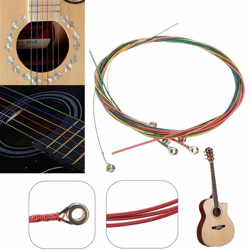 6 قطعة / المجموعة 80 سنتيمتر متعدد الألوان سلاسل الغيتار الصوتية الآلات الموسيقية بدائل ل أجزاء الغيتار الصوتية الكلاسيكية الملحقات