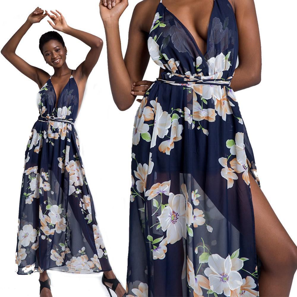 60779667d0f 2019 Women Dresses Plus Size With Floral Print Deep V Neck High Waist  Bandage Backless Split Black Sexy Summer Maxi Beach Holiday Vacation Dress  From ...
